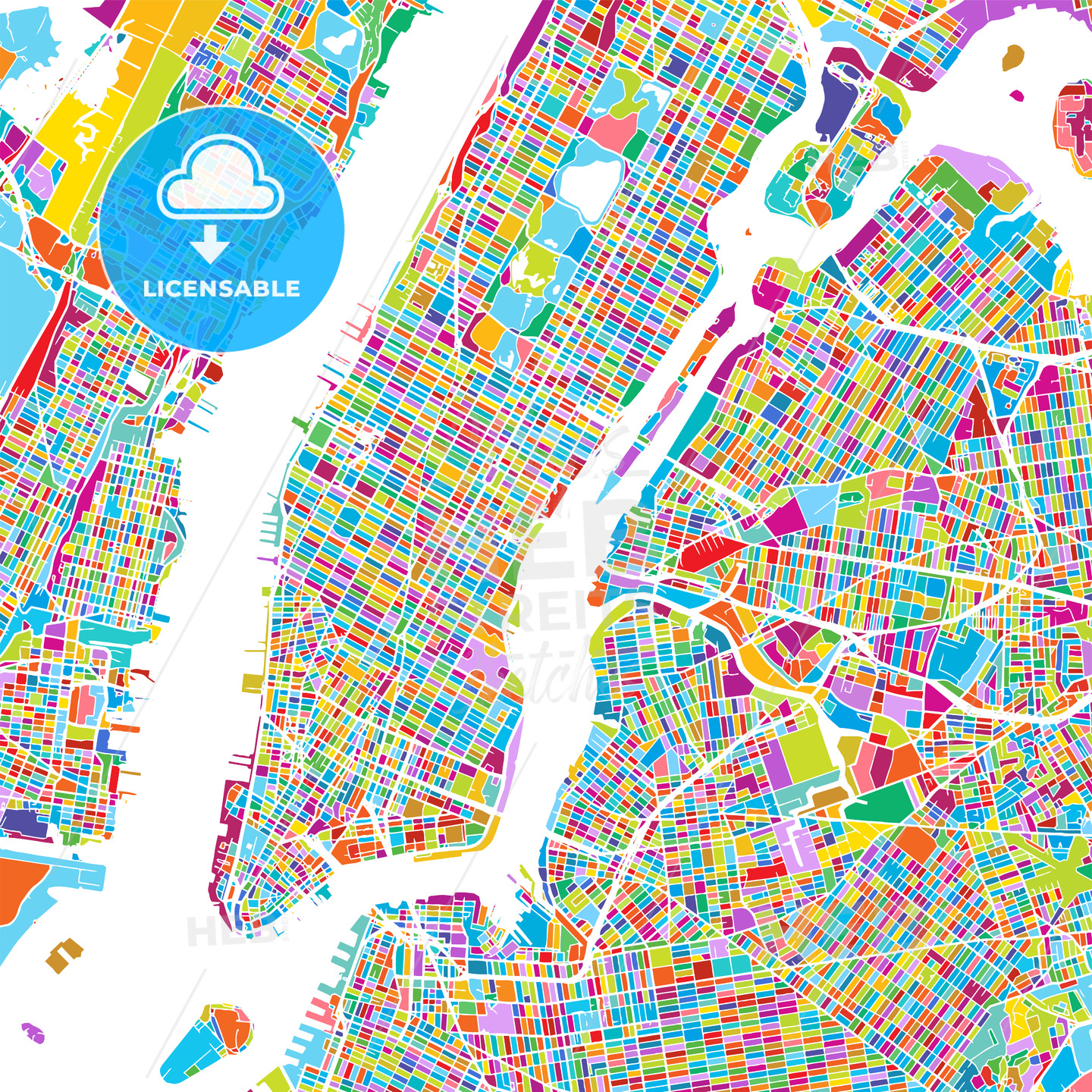 New York City Manhattan Colorful Map - HEBSTREIT's Sketches