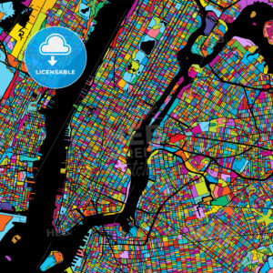 New York City Manhattan Colorful Map on Black - Hebstreits