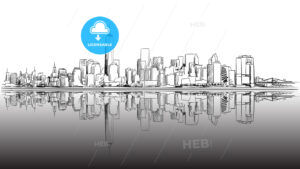 New York City Outline Sketch with Dark Footer - Hebstreits