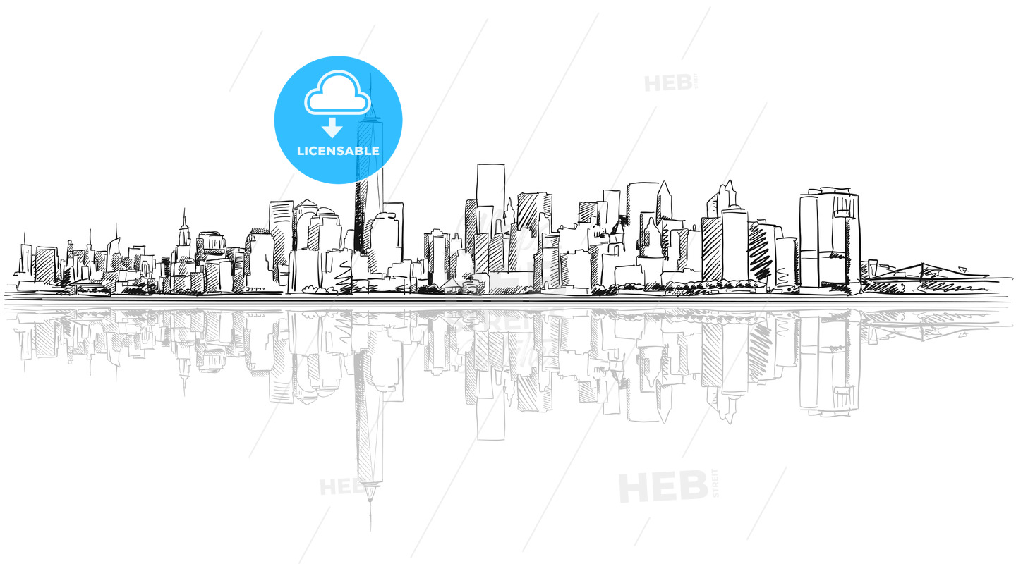 New York City Outline Sketch with Refection - Hebstreits
