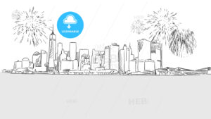 New York City Skyline Firework Sketch - Hebstreits