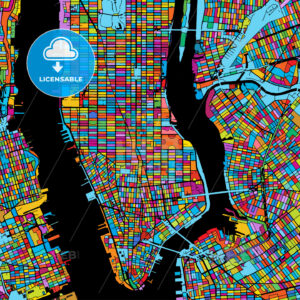 New York City, USA, Colorful Vector Map on Black - HEBSTREIT's Sketches