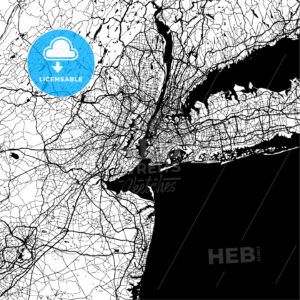 New York City, USA, Monochrome Map Artprint - HEBSTREIT's Sketches