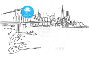 New York Panorama with brooklyn bridge - Hebstreits