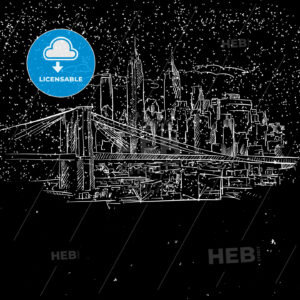 New York by Night with Brooklyn Bridge Sketch - Hebstreits