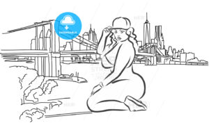 Nice Big Hip Hop Girl in Front of New York Skyline - Hebstreits