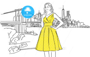 Nice Caucasian Girl with Yellow Dress in Front of New York Skyline. - Hebstreits