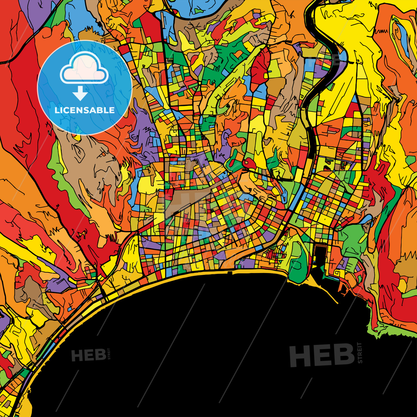 Nice Colorful Vector Map on Black - HEBSTREIT's Sketches