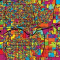 Oklahoma City Colorful Vector Map on Black - Hebstreits