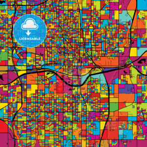 Oklahoma City Colorful Vector Map on Black - HEBSTREIT's Sketches