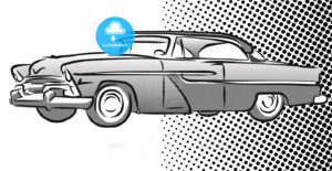 Old American Car Side View, Hand Drawn Sketch - Hebstreits