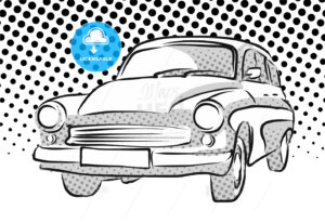 Old East German Car, Dotted Background - Hebstreits