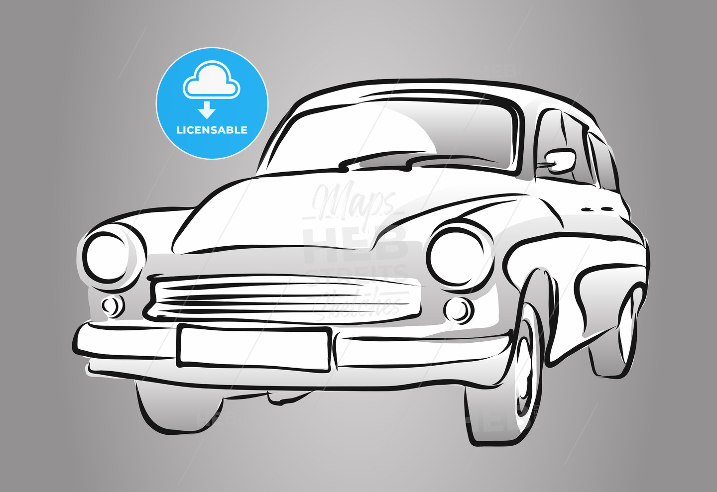 Old East German Car, Grey Shaded Sketch - Hebstreits