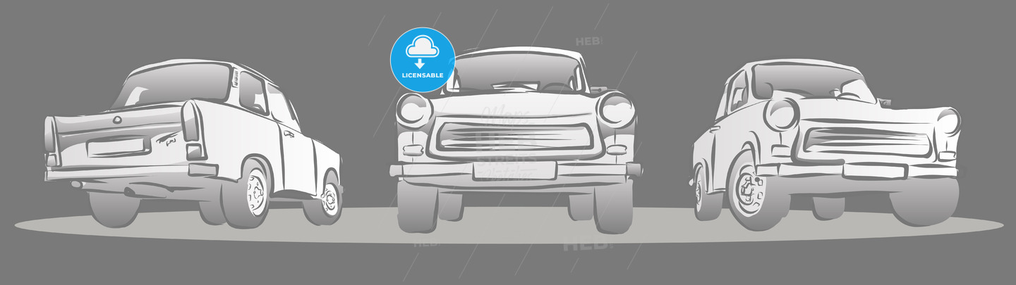 Old East german Car, Three Views. Hand Drawn Sketches - Hebstreits