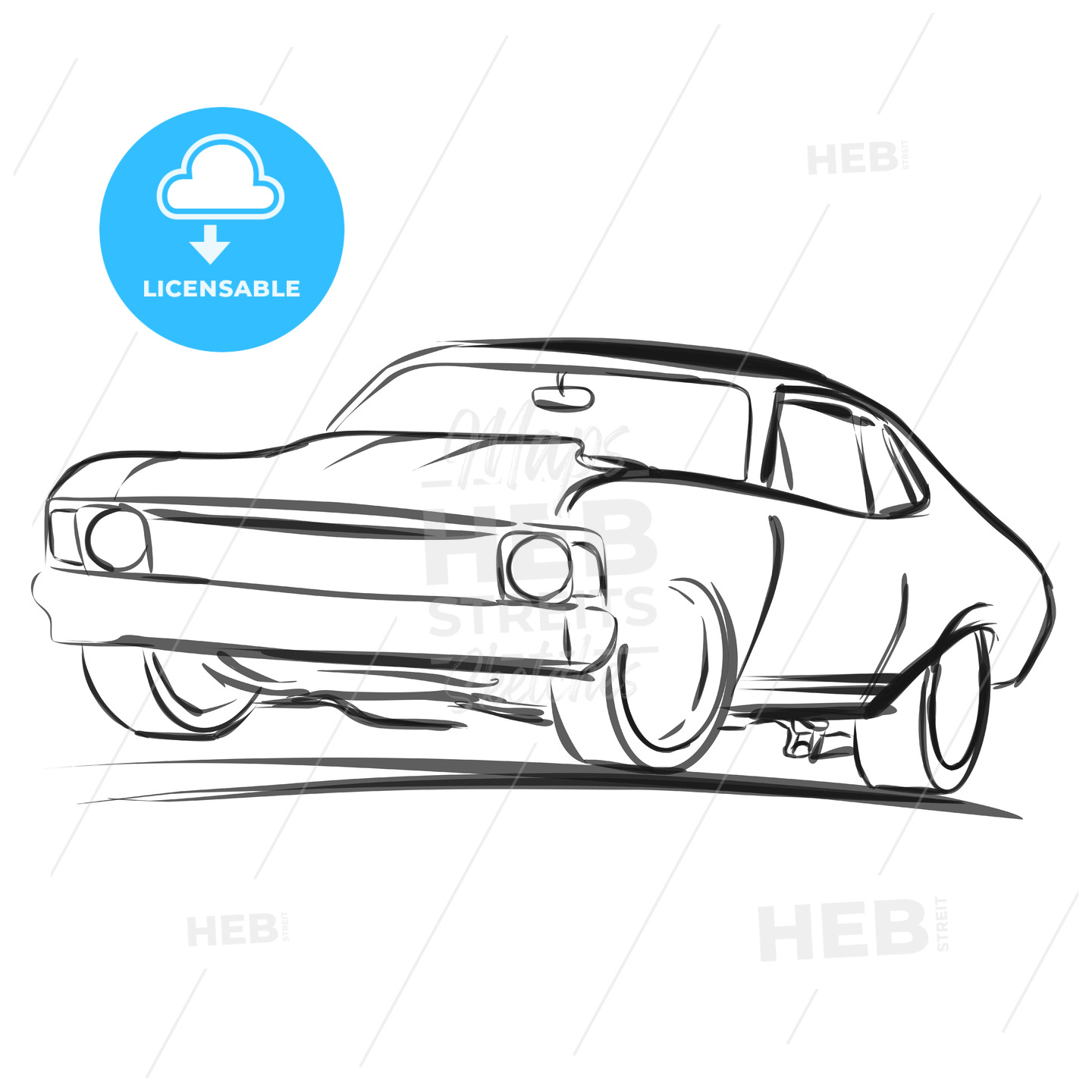 Old Muscle Car Outline Sketch | HEBSTREITS