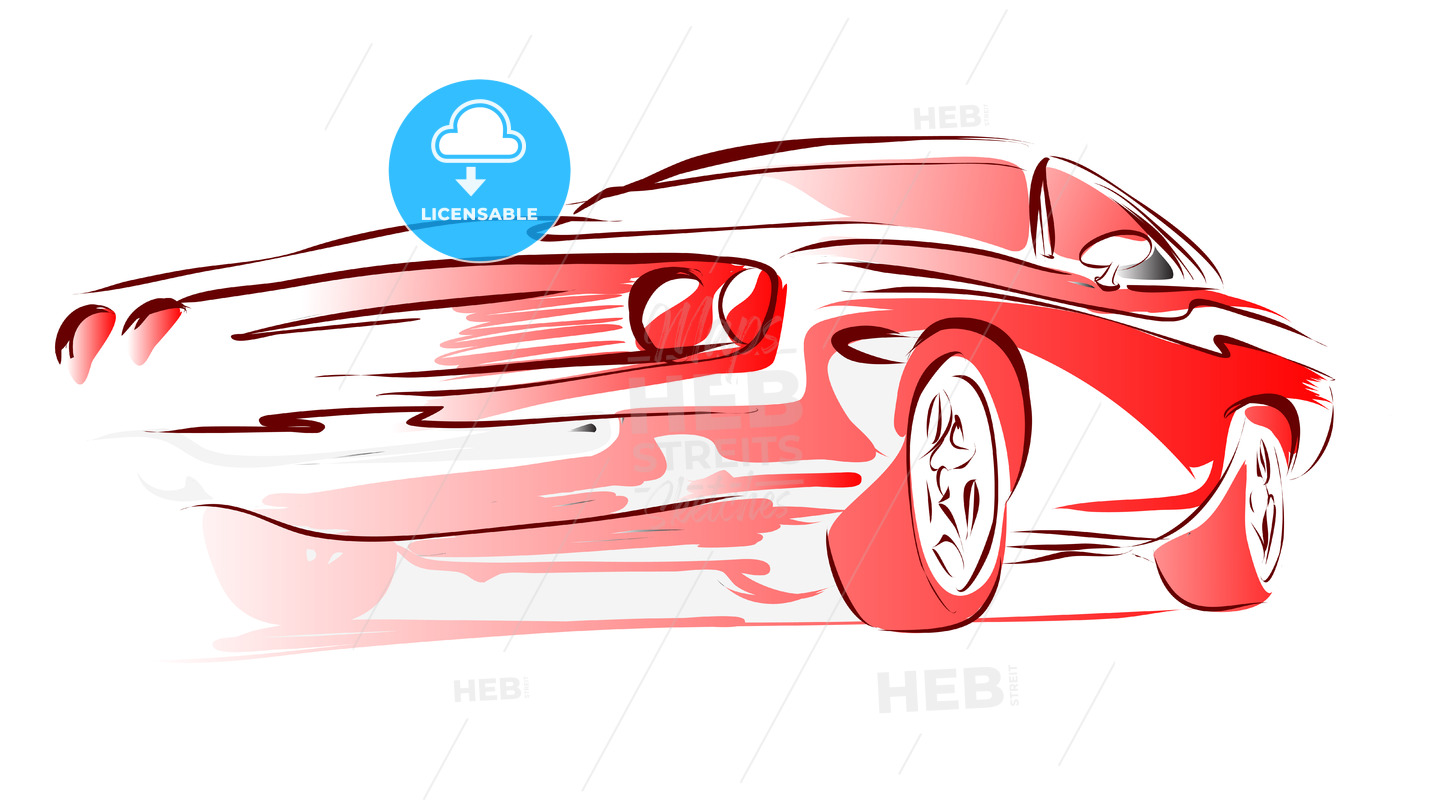 Old Muscle Car, Vector Outline Colored Sketch - Hebstreits