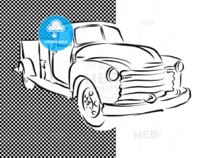 Old Pickup Truck Hand Drawn Artwork - Hebstreits