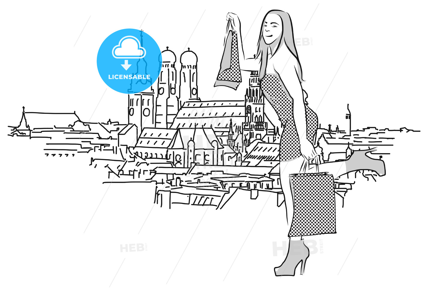 On the roofs of Munich, Vector Outline Sketch - Hebstreits