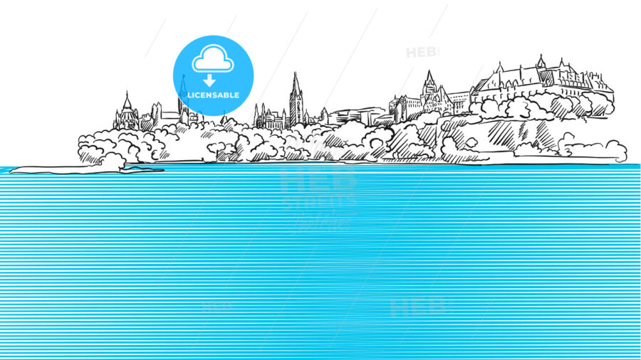 Ottawa Panorama Sketch seen from Ontario River - Hebstreits