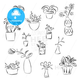 Outline Plants Doodles - HEBSTREITS
