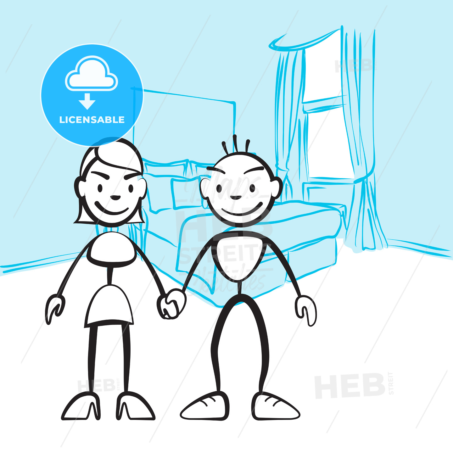 Pair of sticky figures for planning interior design - Hebstreits