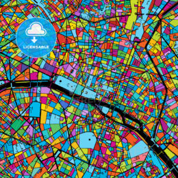Paris, France, Colorful Vector Map on Black