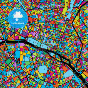 Paris, France, Colorful Vector Map on Black - Hebstreits