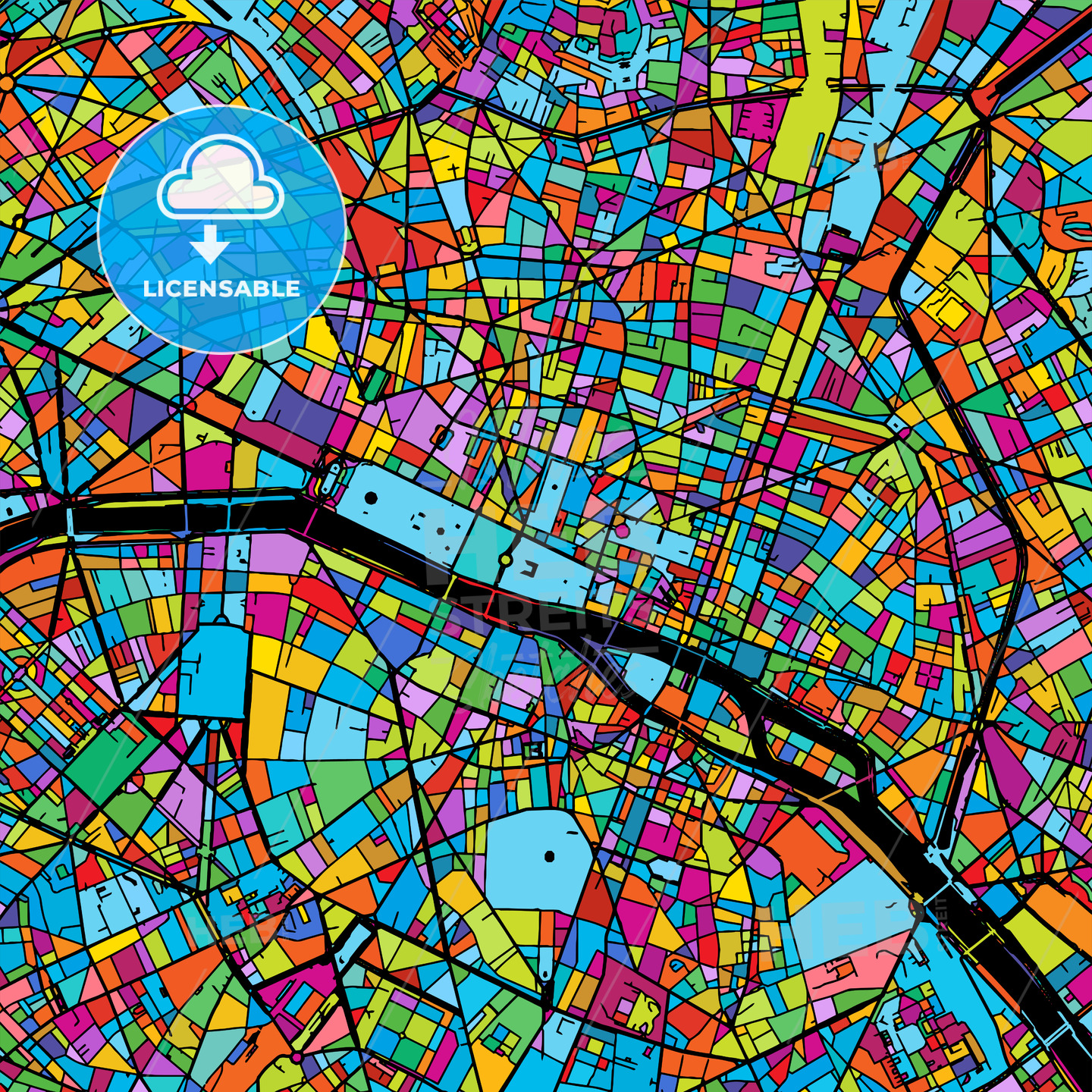 Paris, France, Colorful Vector Map on Black - HEBSTREIT's Sketches