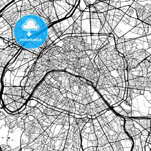 Paris, France, Monochrome Map Artprint - HEBSTREIT's Sketches