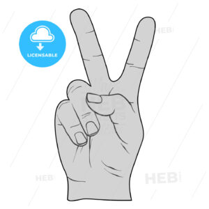 Peace Sign Victory Fingers Outline Drawing - Hebstreits