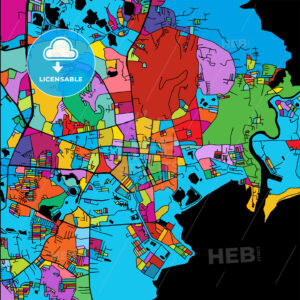 Phuket, Thailand, Colorful Vector Map on Black - Hebstreits