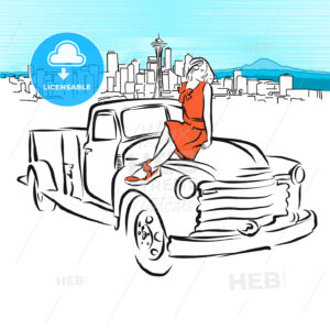 Pickup and Girl in Front of Seattle Panorama - Hebstreits