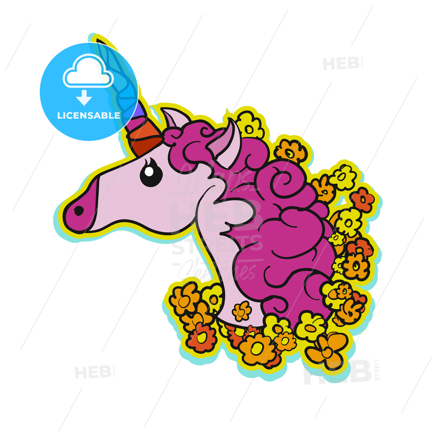 Pink Cute Unicorn Patch Design - Hebstreits