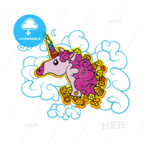 Pink Cute Unicorn on Cloud - Hebstreits