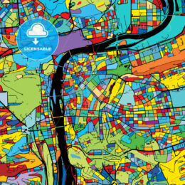 Prague, Czech Republic, Colorful Vector Map on Black