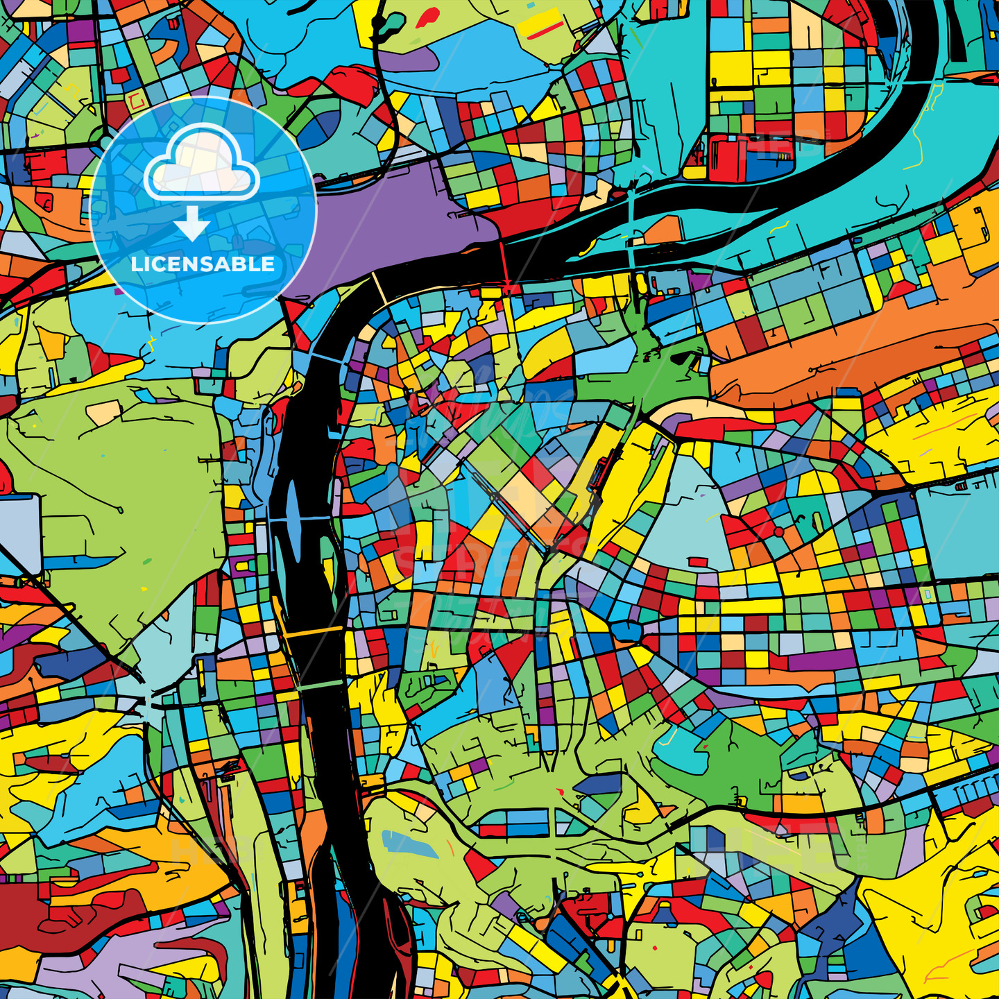 Prague, Czech Republic, Colorful Vector Map on Black - Hebstreits
