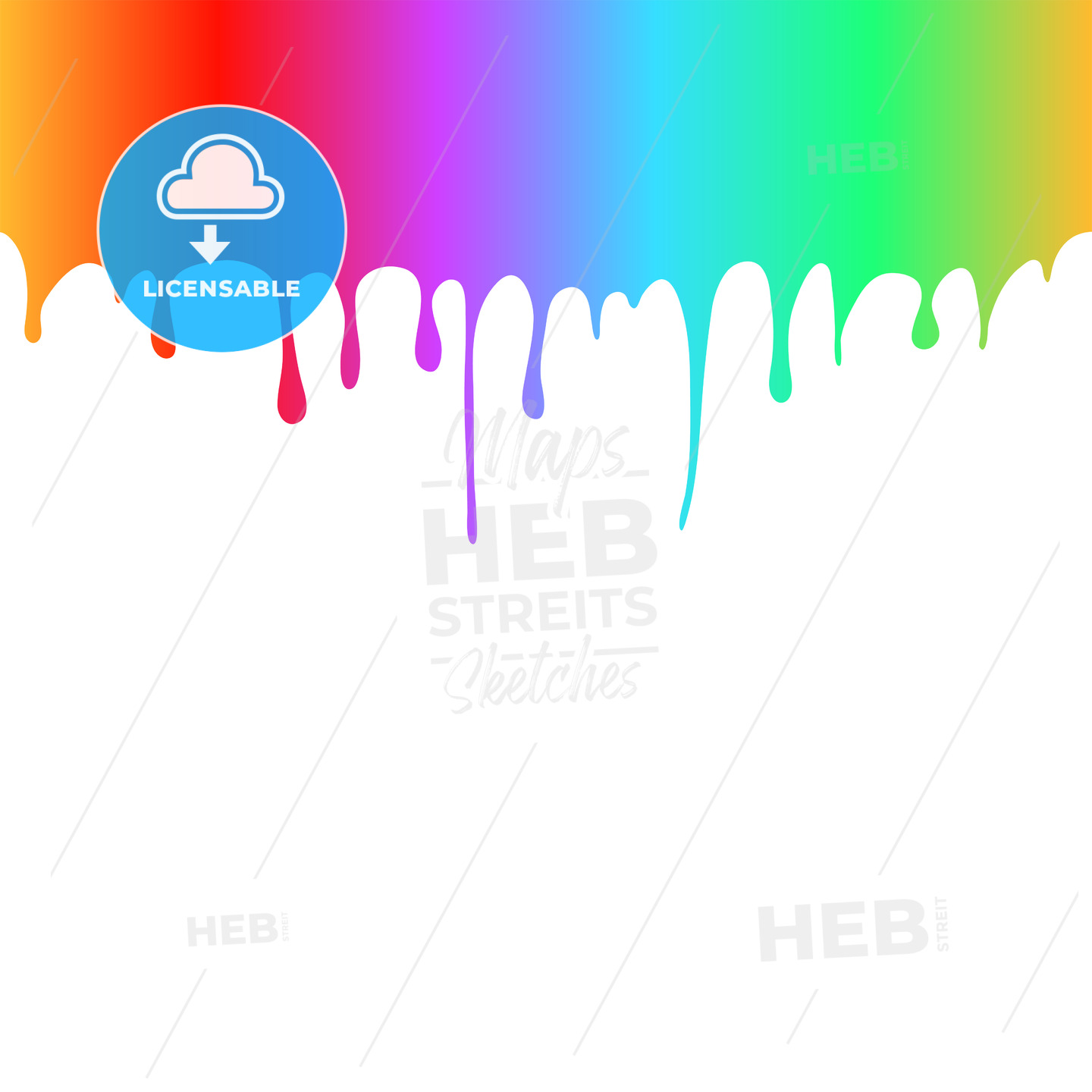 Rainbow Colored Paint Drops - Hebstreits