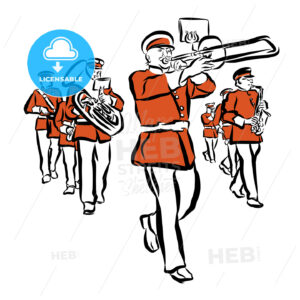 Red Colored Marching Band Illustration - Hebstreits