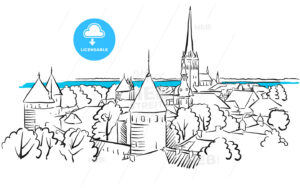 Riga Ancient Panorama Greeting Card Sketch - Hebstreits