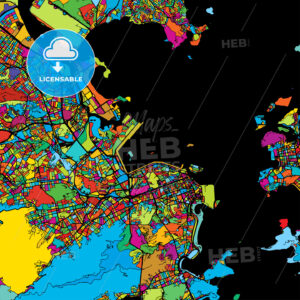 Rio de Janeiro, Brazil, Colorful Vector Map on Black - Hebstreits