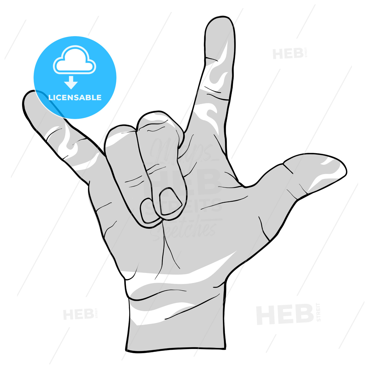 Rock Hand Metal Sign Drawing - Hebstreits