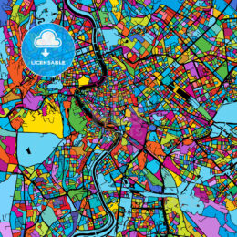 Rome, Italy, Colorful Vector Map on Black