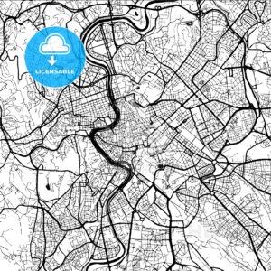 Rome, Italy, Monochrome Map Artprint - Hebstreits
