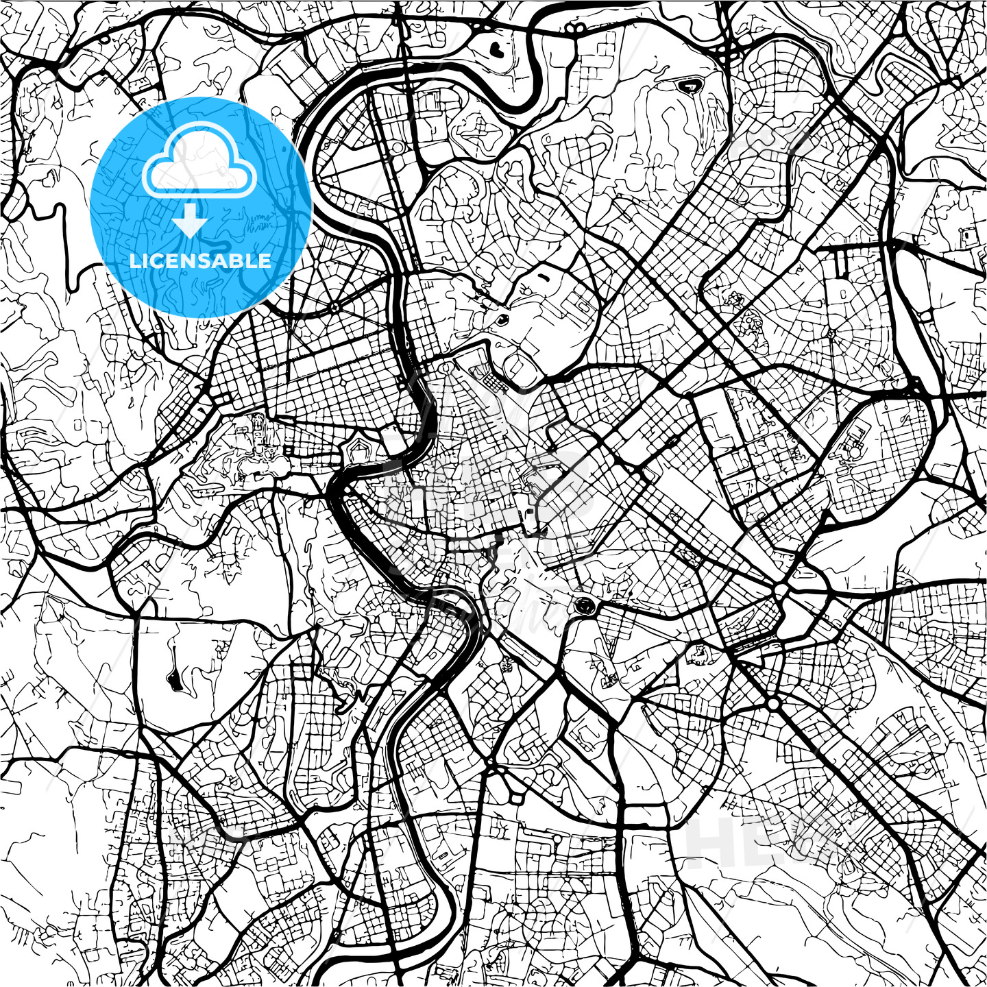 Rome, Italy, Monochrome Map Artprint - HEBSTREIT's Sketches