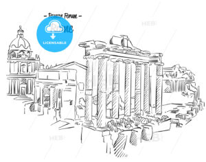 Rome Roman Forum Sketch Famous Landmark - Hebstreits