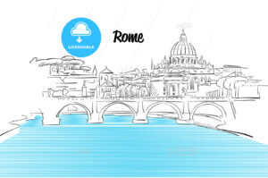 Rome Skyline Vacation Outline Sketch - Hebstreits