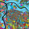 Sacramento, California, Colorful Vector Map on Black - Hebstreits