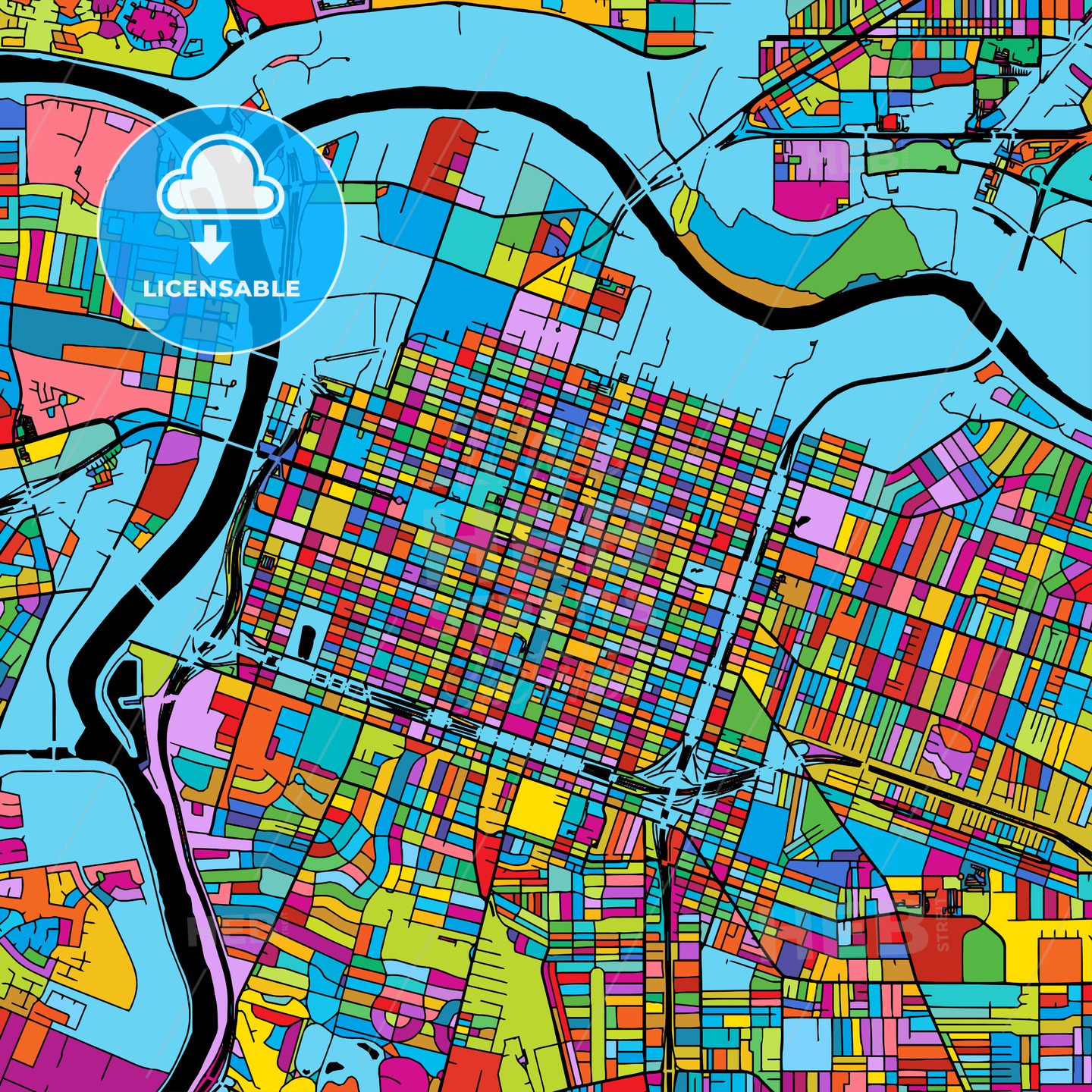 Sacramento, California, Colorful Vector Map on Black - HEBSTREIT's Sketches