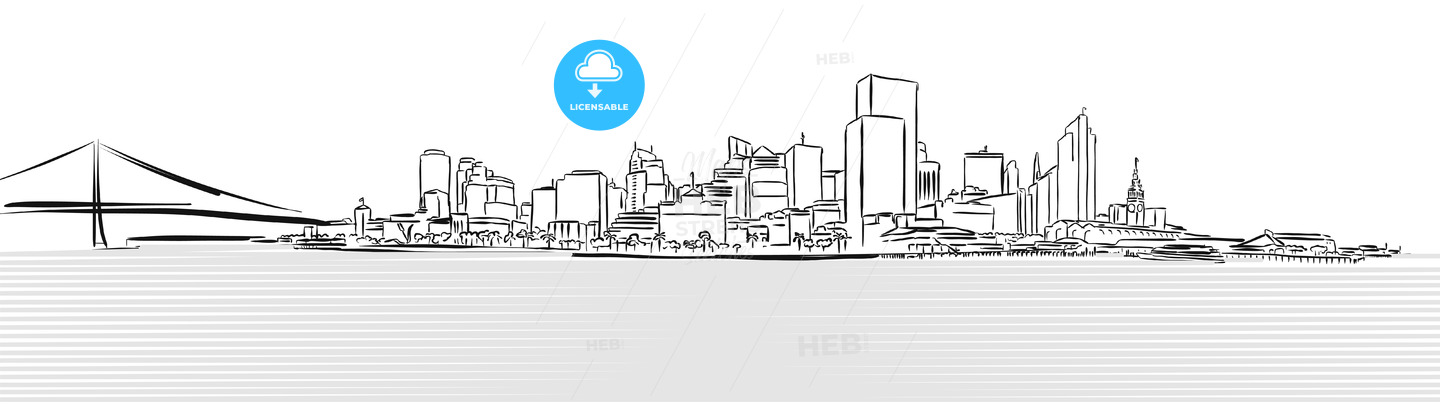 San Francisco Downtown from Pier Sketch - Hebstreits