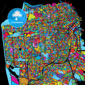 San Francisco, USA, Colorful Vector Map on Black - Hebstreits